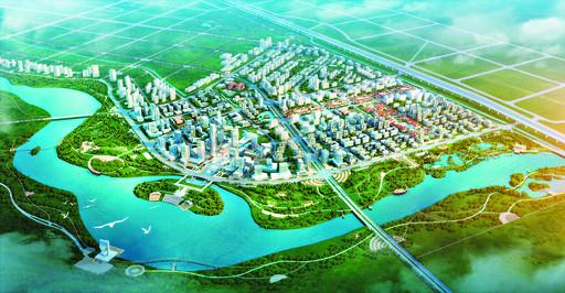 上图为淇水湾商务区城市设计总平面图